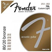 Fender 80/20 Bronze Acoustic Strings, .012-.052 Gauges, 3-Pack