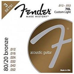 Fender 80/20 Bronze Acoustic Strings, .012-.052 Gauges, 3-Pack