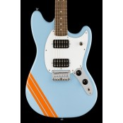 Squier FSR Bullet Competition Mustang HH, Daphne Blue with Orange Stripes