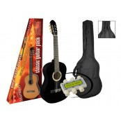 A.martinez gitaar klassiek 80PB black met hoes en stemfluitje