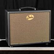 Suhr 1x12 speaker cabinet, black tolex, gold grill, veteran 30