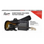 Squier Affinity HSS Stratocaster Pack with 15G Amplifier, LRL Fingerboard, Gigbag Brown Sunburst
