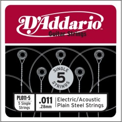 D'Addario 5 losse snaren plain steel 011