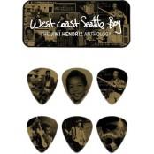 Dunlop 12 plectrums in blikje Jimi Hendrix West Coast Boy