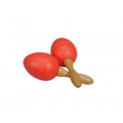 Percussie eitje met korte steel rood