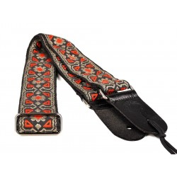 Gaucho gitaarband jacquard weave red on gold