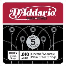 D'Addario 5 losse snaren plain steel 010