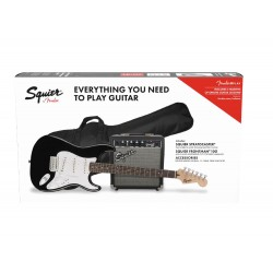 Squier Stratocaster Pack with 10G Amplifier, LRL Fingerboard, Gigbag Black