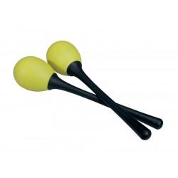 Percussie eitje met lange steel geel