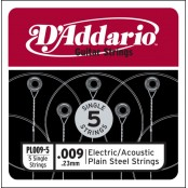D'Addario 5 losse snaren plain steel 009