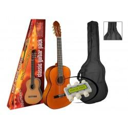 A.martinez gitaar klassiek 80P naturel met hoes en stemfluitje