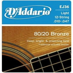 D'Addario snaren bronze EJ36 12 snarig