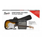 Squier Stratocaster Pack with 10G Amplifier, LRL Fingerboard, Gigbag Brown Sunburst