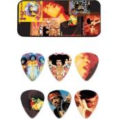 Dunlop 12 plectrums in blikje Jimi Hendrix Montage