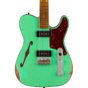 Fender Custom Shop Limited edition dual p90 thinline tele, relic, foam green top with aged natura preorder