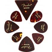 Fender Plectrums All Shapes Celluloid Medley Tortoise Shell Medium 8 Picks