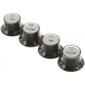 Gibson top hat knobs 4/pack style black w/silver metal insert